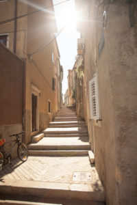 View in an alley in Cres, Croatia